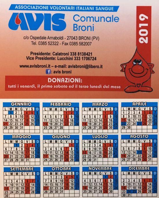 Calendario Avis.Avis Broni Calendario Donazioni